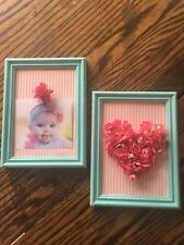 Shabby Chic Aqua and Pink Baby/Toddler  Picture frames
