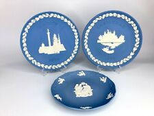 Wedgwood England Blue Jasperware Collector Plates Christmas 1970-1973-1998