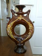 Vintage Peters & Reed(?) Donut Shaped Art Pottery - Brown Glaze - Floral Wreath