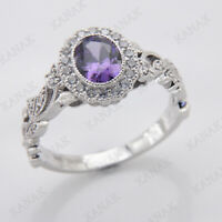 1.10 Ct Oval Cut Amethyst 14K White Gold Finish Halo Vintage Engagement Ring