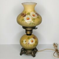 Vintage 3 Way Hurricane Parlor Desk Lamp Hand Painted Milk Glass Daisies 12.75""