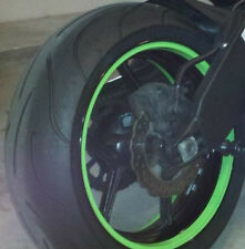 LIME GREEN CUSTOM MOTORCYCLE RIM WRAP WHEEL DECALS STRIPES STICKERS TAPE TRIM