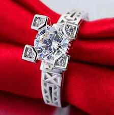 """1.0 Ct CZ 925 Sterling Silver """"The Eiffel Tower"""" Engagement Wedding Ring SZ #8.5"""