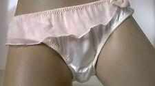 Ladies Cute Ivory Silky Satin n Sheer Bikini Panties Frilly Skirt Knickers   M