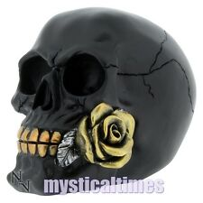 NEW BLACK ROSE FROM THE DEAD SKULL SKELETON GOTHIC GIFT FIGURE NEMESIS ORNAMENT