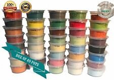 #P40d - DRY PAINT CHALK POWDERS - sample BOX of 40 pots craft COLOURS 40 x 30ml