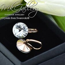 925 Sterling Silver Earrings 12mm Light Azore Rivoli Crystals From Swarovski