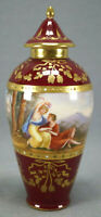 Royal Vienna Style Hand Painted Neoclassical Figures Red Beaded Raised Gold Urn