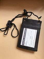 New Leather Neck Strap ID Badge Card Holder Pouch Wallet Black Coin Holder