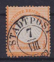 Brustschild Mi Nr. 14, geprüft Sommer BPP sauber K2 Stadtpost 07.08.1872 gest.