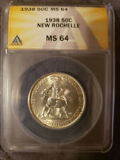 1938 MS64 50C NEW ROCHELLE COMMEMORATIVE HALF DOLLAR ANACS