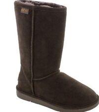 New Minnetonka Calgary Genuine Sheepskin Fur Boot Women's Chocolate Brown Shoe 5