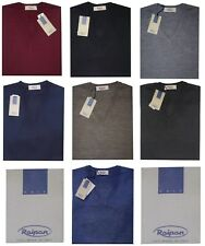 Pullover scollo V UOMO lana merino 46 48 50 52 54 56 58 60 RAIPAN 100%MADE ITALY