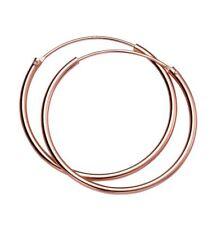 14ct Rose Gold-Plated 925 Sterling Silver 30mm Hoop Sleeper Earrings (Pair)