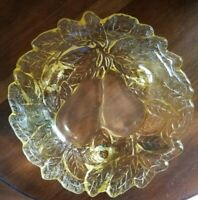Vintage Amber Glass Tiara Sweet Pear Candy Dish with 3 feet