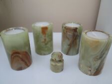 "Four Green Onyx Crystal Tealight Candle Holders each approx 3.5"" inches tall."