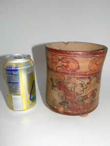 Pre-Columbian Mayan Three-Footed Cylinder, Authentic