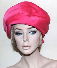 Adolfo vintage pink silk oversize pill box hat