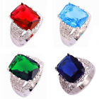 Sapphire Quartz Garnet Emerald Quartz Blue Topaz Gemstone Silver Ring Jewelry