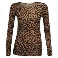 New Womens Long Sleeve Brown Leopard Print Top Ladies Stretch Viscose T Shirt