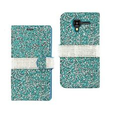 Kyocera Hydro View Wallet Case Cover Magnetic Flip Jeweled Rhinestone Blue