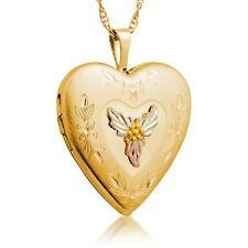 Black Hills Gold locket heart photo picture womens pendant necklace