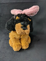 Best Made Toys Dog with Pink Bunny Ears Easter Black Tan Stuffed Animal Plush