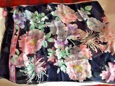 "Leonard 100 Silk Scarf Navy Floral Pink Green Blue Lilac 27""x 69"" Italy"