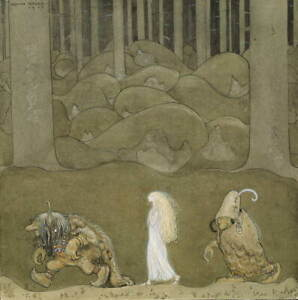 John Albert Bauer The Princess And The Trolls Poster Giclee Canvas Print