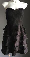 Retro PILGRIM AUSTRALIA Black Strapless Tier Skirt Dress Size 10