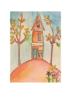 """Artist Trading Card ACEO Original Painting House On The Hill 2.5""""X3.5"""" By Kenna"""