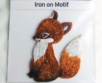 SMART FOX SITTING IRON ON APPLIQUE MOTIF PATCH, BRAND NEW