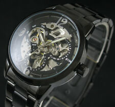 Mens Black Stainless Steel Steampunk Skeleton Automatic Mechanical Wrist Watch