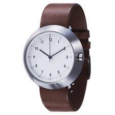 """Normal Timepieces """"Fuji"""" Quartz Acier Inox Brossè Blanc Cuir Brun Homme Montre"""