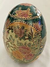"Goldtone Floral Cloisonne 6"" Collectible Asian Egg Figurine"