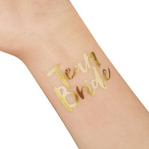 8/16/24/32 TEAM BRIDE TEMPORARY TATTOOS Gold Funky Hen Party / Night Accessories