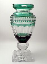 Huge Magnificent Emerald Green Cut-to-Clear Urn Vase Signed DZYR