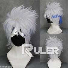 Short layered Hatake Kakashi Silver White Anime Cosplay Wig+free wig cap