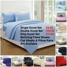 Egyptian Cotton Solid Buttoned Bedding Sets & Duvet Covers