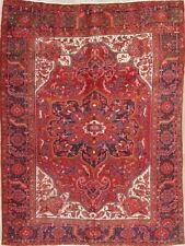 Beautiful Vintage Geometric Handmade Red Wool Area Rug 8x11
