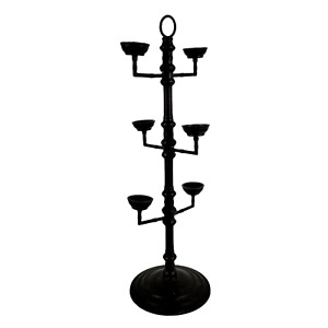 Tall Pottery Barn Black Metal 6 Arm Heavy Rustic Candle Holder Stand Candelabra