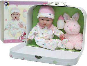 "JC Toys Berenguer La Baby 11"" Soft Body Play Doll Travel Case Gift Set, Pink NEW"