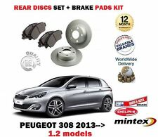 Pour peugeot 308 1.2 vti thp 2013 -- > neuf arrière disques de frein set + disc pads kit