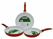 CONCORD 3 PC Eco Friendly Ceramic Nonstick Fry Pan Cookware Set Skillet