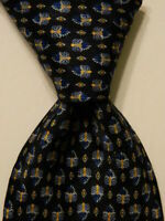 BRIONI Mens 100% Silk XL Necktie ITALY Luxury Designer Geometric Blue/Yellow EUC