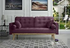 Mid-Century Modern Tufted Velvet Fabric Sofa with Wooden Frame/Legs (Purple)