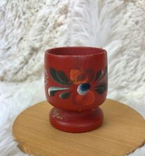 Vintage Rosemaling Egg Cup Hand Painted Norwegian Scandinavian Folk Art