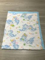 """Vintage 60s Playful Cats Kittens Colorful Throw Baby Blanket Quilt 44"""" x 50"""" USA"""