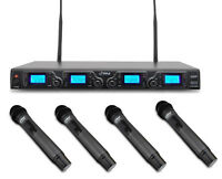 Pro UHF 4 Handheld Mic Wireless Microphone System for Church Stage Vocal Singing