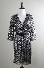 TRINA TURK $288 Metallic Leopard Print Belted Silk Lined Crossover Dress Size 8